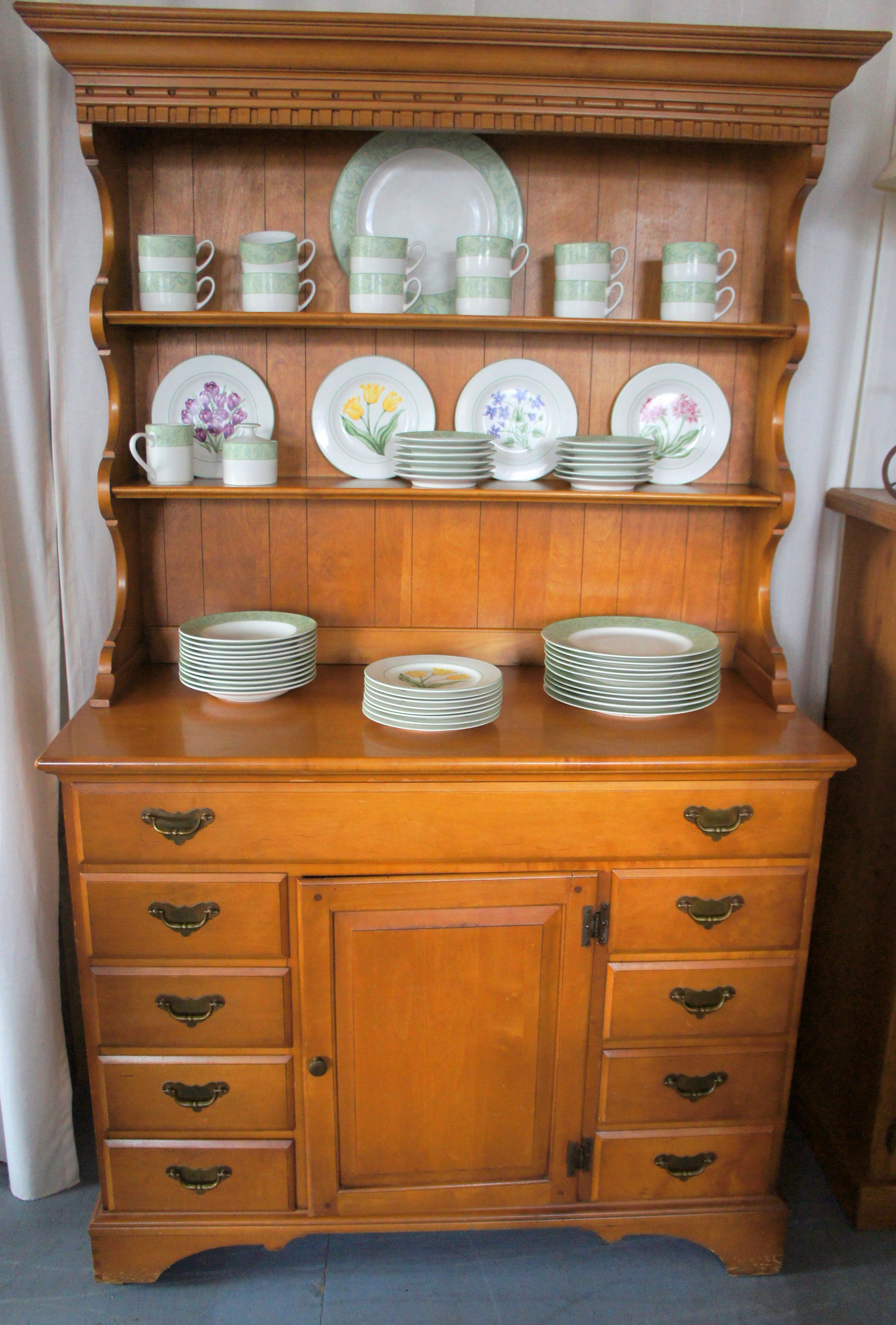 Vintage Maple Buffet / Hutch | The Dwelling Station
