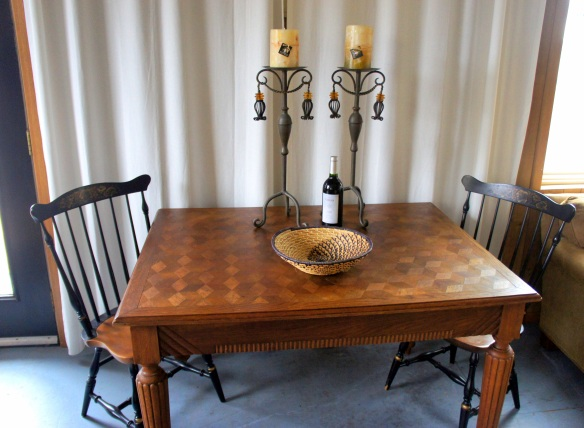 Antique Walnut Table with Parquet Top and lovely details. 48