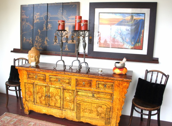 Antique Elm Asian Sideboard / Buffet, 6 feet long