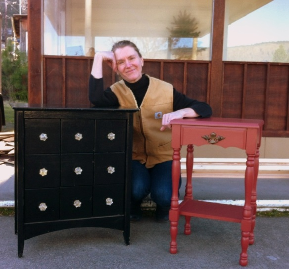 Barbara was searching for side tables and walked away with these 2 plus a mahogany drum table!
