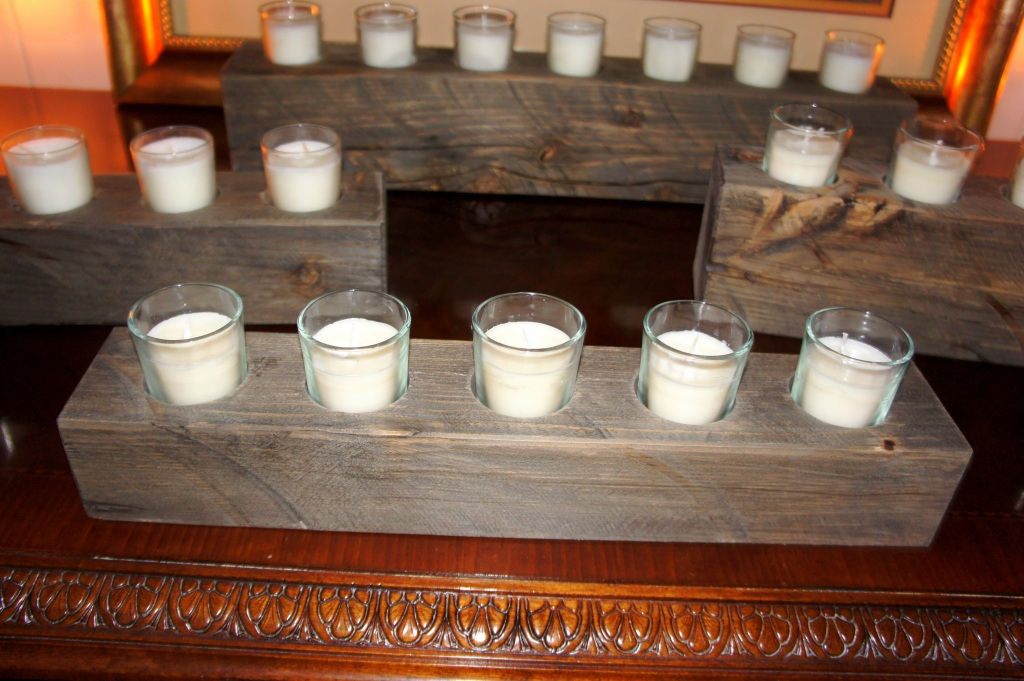 Salvaged barnwood candleholders made by Mosier craftsman. I LOVE these. And you must love them too because we sold out and Patrick just delivered five more.