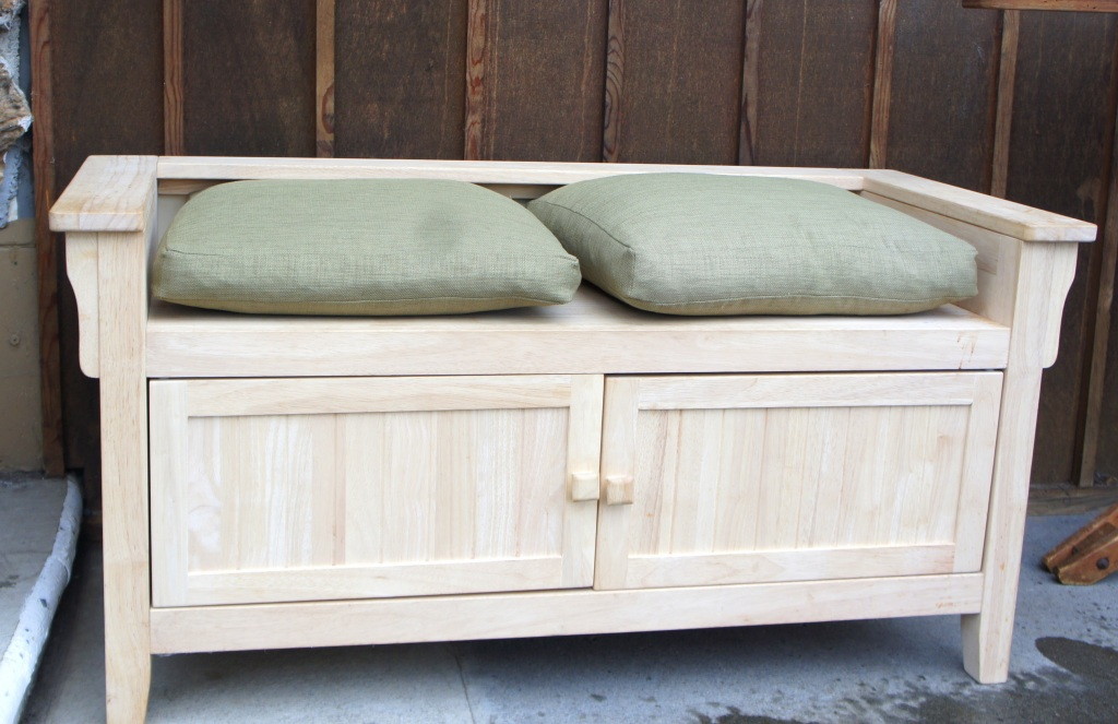 Solid Pine Bench with Double Cabinet Storage
