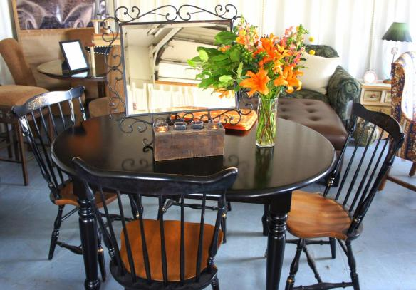 Black Farm Table, Scroll Mirror