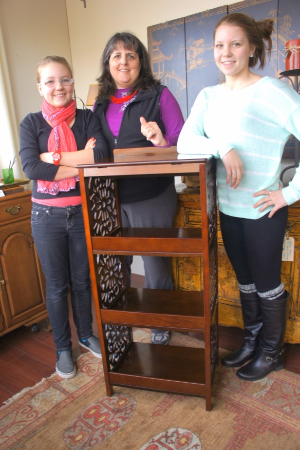 Brenda and her girls Anna and Leah made a big heist with this podium bookcase, a flip top service bar and little chest of drawers. Thank you ladies!