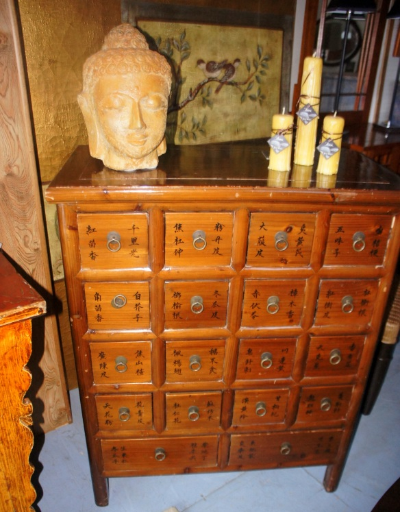 Chinese Cabinet with 16 little square drawers. Great Apothecary, Acupuncture, Herbalist piece. Also handsome for bedroom, living room, entry, office or even a large bathroom.