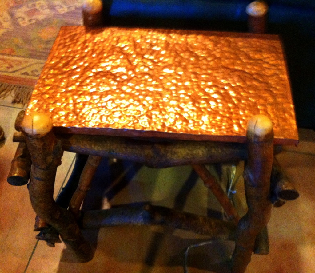 Artisan crafted side table with hammered copper top. Another great piece for the log cabin or ranch.