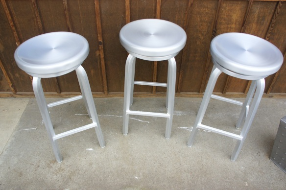 Crate & Barrel Aluminum Bar Stools, Very Sturdy, Swivel Top, 30""