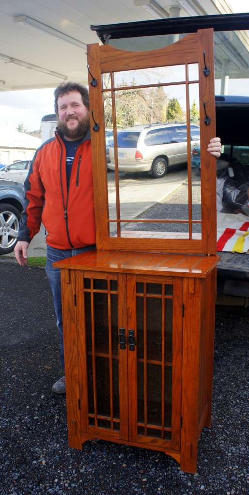 Damien and his expectant wife Linda loved this hall stand and also took home the vintage maple hutch. Congratulations!