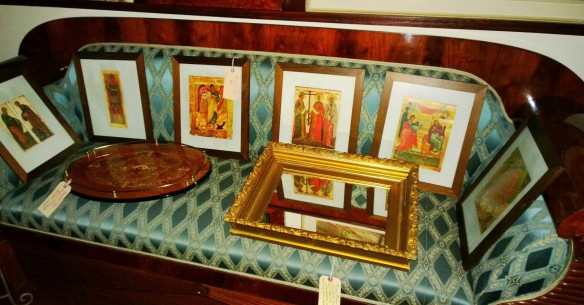 framed iconic religious figures from Madrid Spain