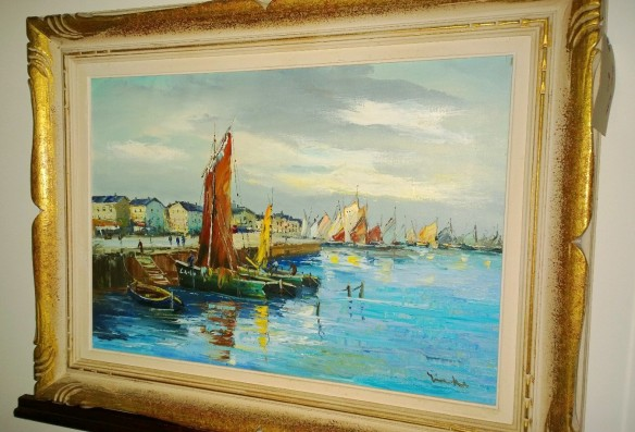 framed original port painting from europe