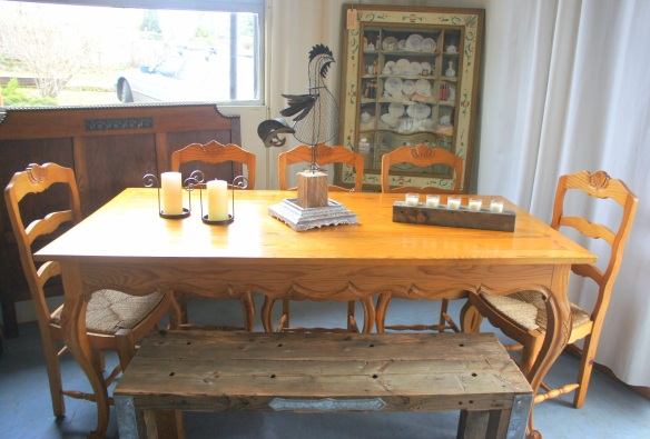 French Country Pine Farm Table with Rustic Bench and 8 Matching Chairs Measures: 3 x 6 feet