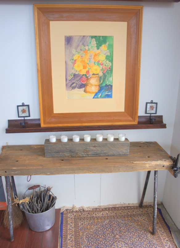 "Rustic Bench with Metal Legs Measures: 48.5"" wide x 14.5"" deep x 26"" high"