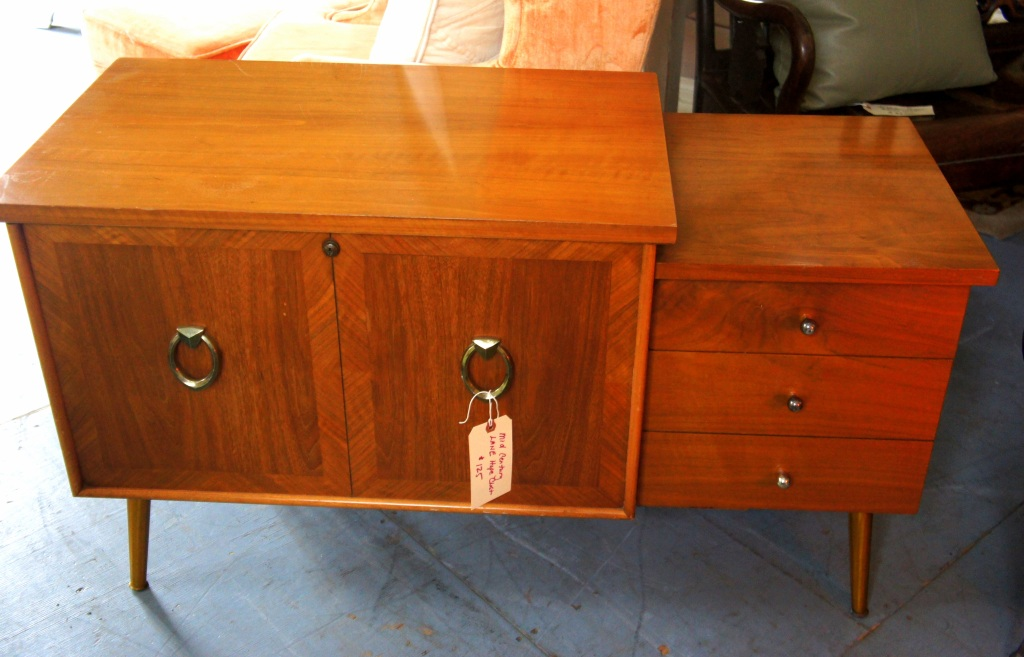 Mid Century Cabinet - very fun and funky! Push a metal button and it opens to a cedar lined LANE chest, plus drawers on the side.