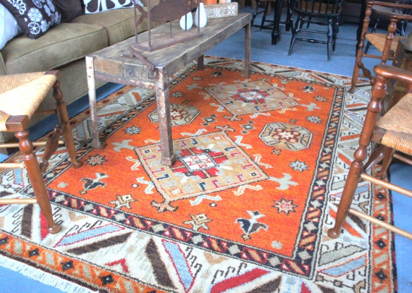 Kazak Vegetable Dye Rug, 100% wood, made in India. Measures 8.1 x 5.10