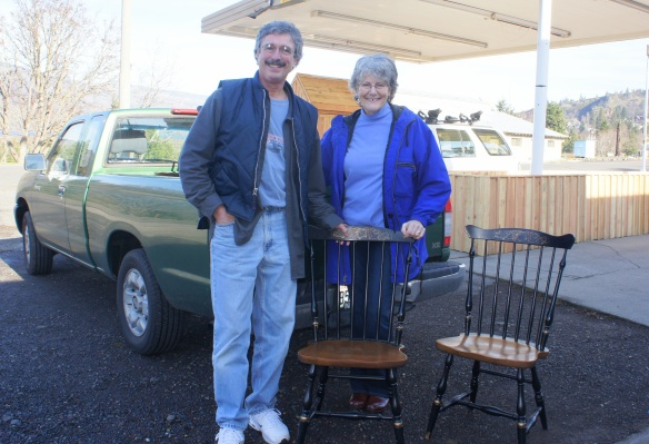 Kip and Mitzi knew what they wanted and drove all the way from Vancouver for these vintage Hitchcock chairs.