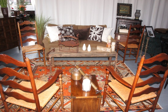 Loveseat, Down Pillows, Rustic Table, India Rug, Stickley Chairs, Heritage Side Table