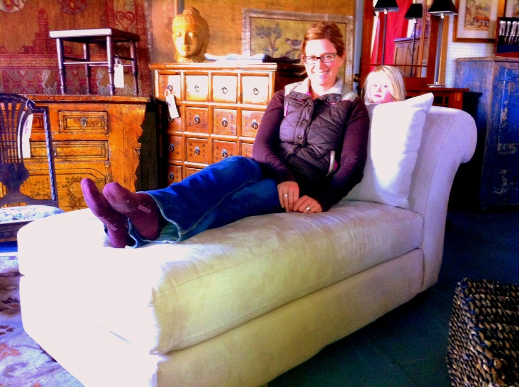Natalie and her peek-a-boo daughter Amalie will enjoy cuddling up with their new chaise lounger at home.
