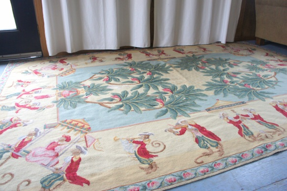 Large Handmade Needlepoint Rug with Monkey Musicians DesignSize: 6' x 9'