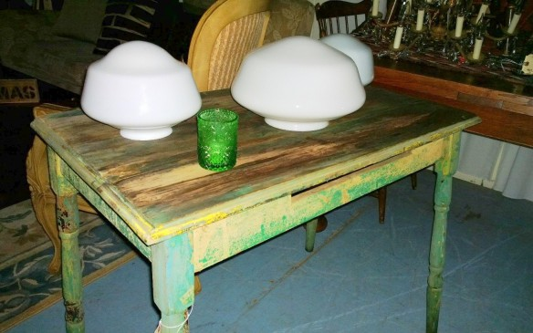 old distressed farm table