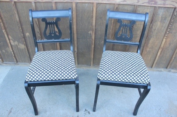 Pair of Vintage Wood Chairs painted black.