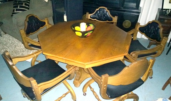 pecan wood dining table and chairs