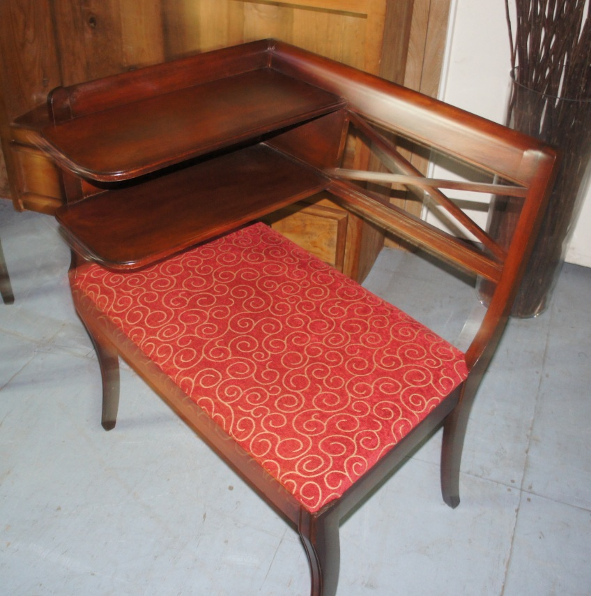 1940's mahogany phone table with two sweet shelves, newly upholstered seat.