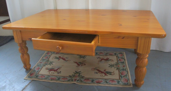 "Solid Pine Coffee Table with Drawer48"" x 29.5"" x 18"""