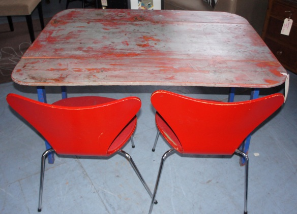 Red and Blue distressed drop leaf farm table Red Arne Jacobsen Series 7 Danish Chairs