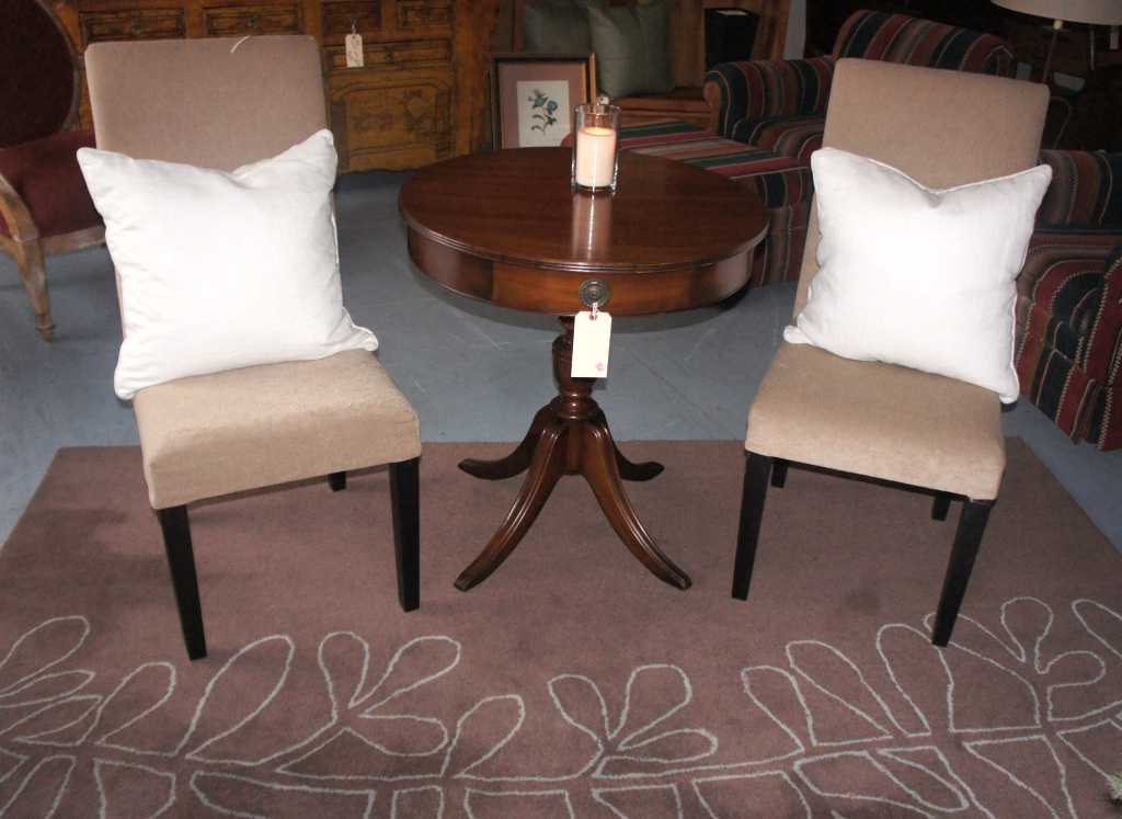 Chairs, West Elm Rug, Drum Table