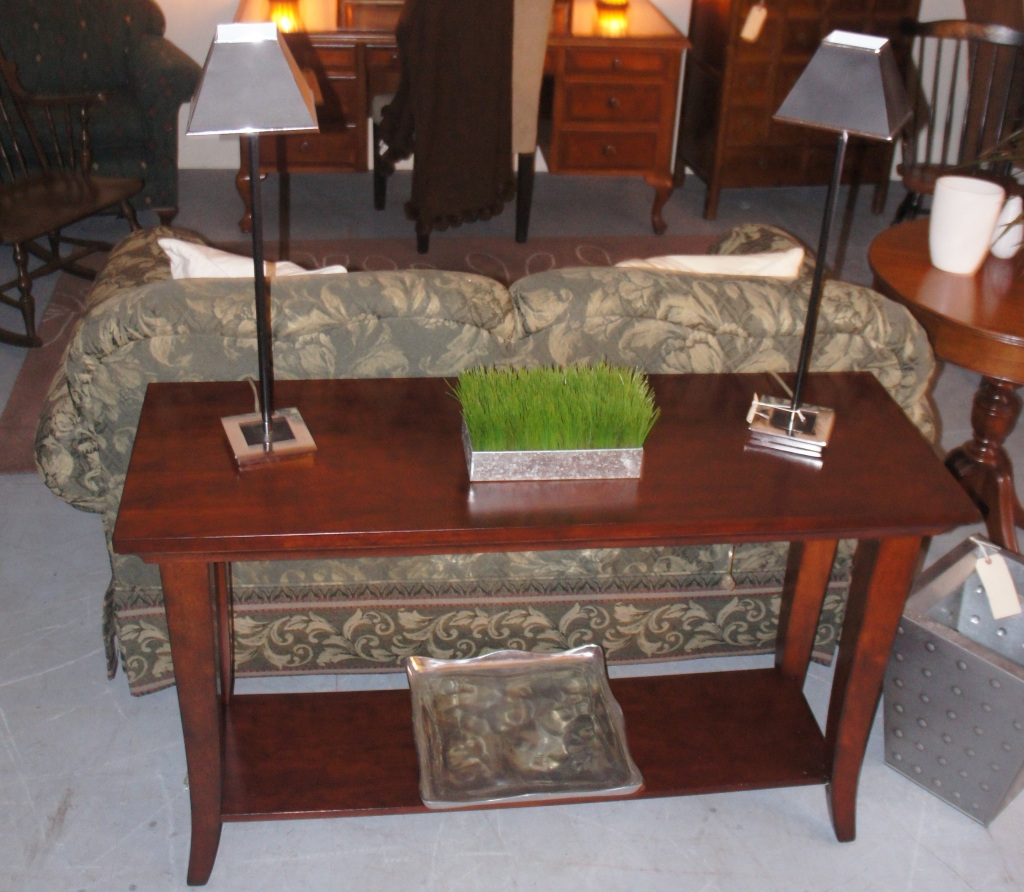 Beautiful wood sofa table with bottom shelf