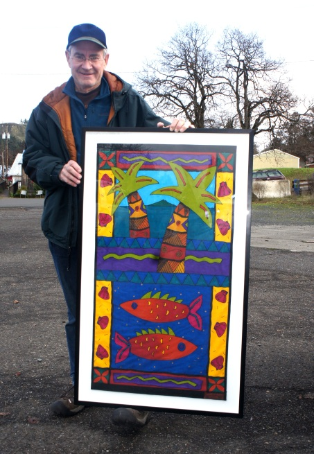 Steve was drawn to several pieces of colorful art including two by Wendy Bennett,