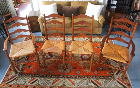 Set of 4 Stickley early American New England ladder back maple chairs with rush seats c1956 in very nice condition.