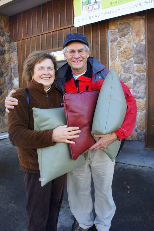Susan and Jurgen were happy to discover these fine leather pillows for their place.