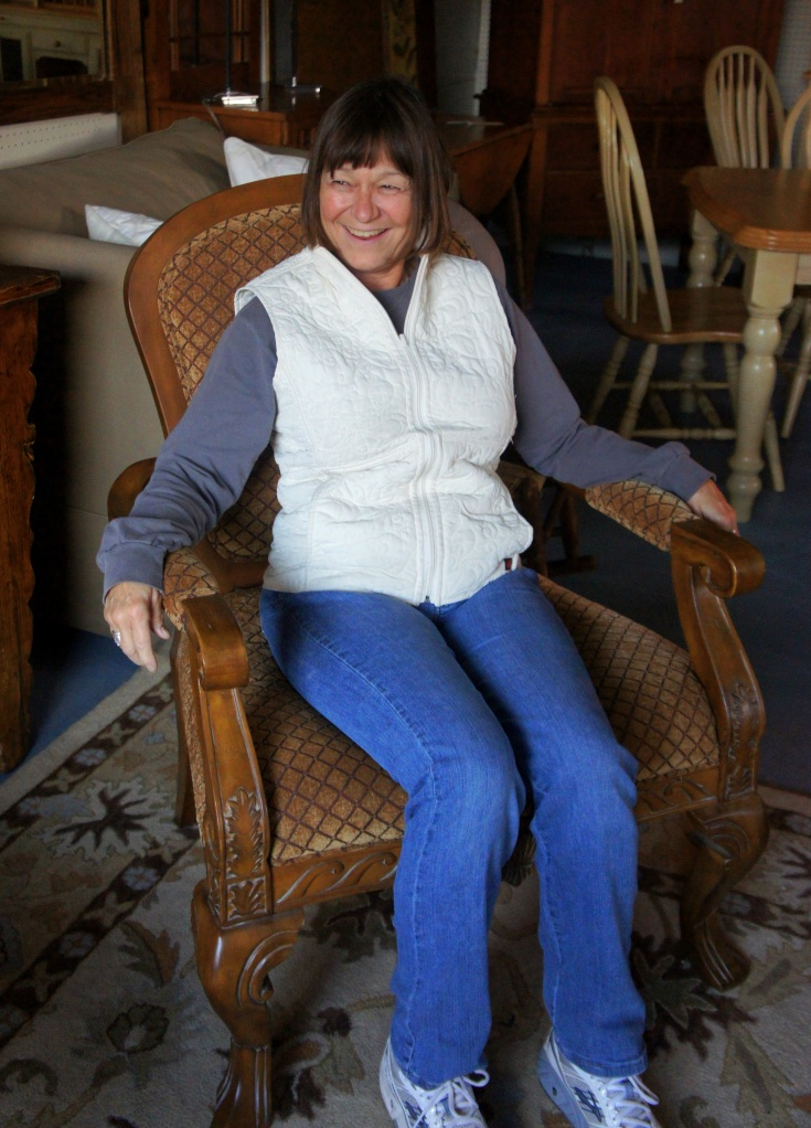 Susan took at seat in this lovely carved chair and her face lit up. Now she's sitting pretty with it at home.