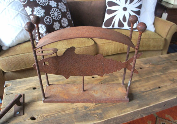 Mosier metal artist Tom Herrera crafted this heavy fish sculpture; beautiful.