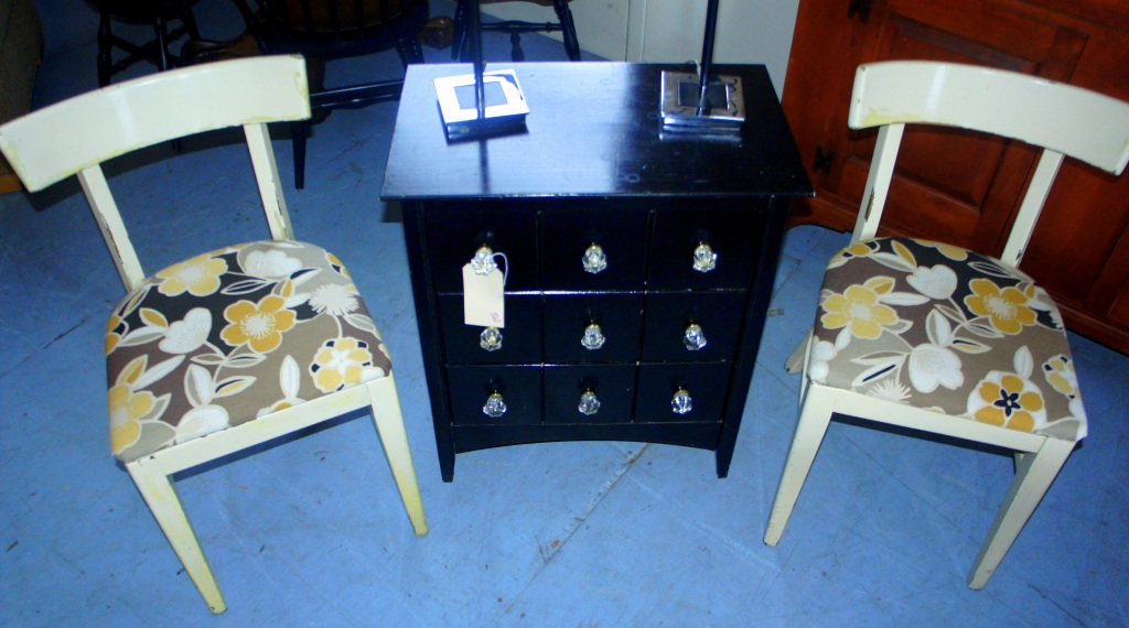 (SOLD) Pair of vintage chairs.  Small black chest with three drawers and 9 glass knobs.