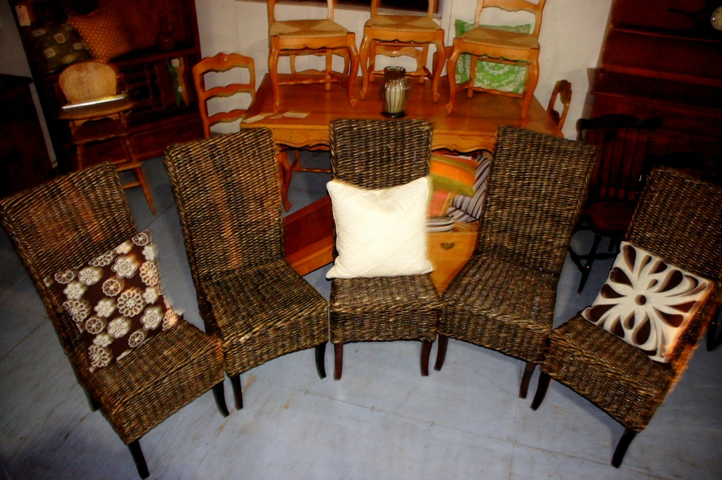 Heavy woven chairs with hardwood legs. Very nice condition.