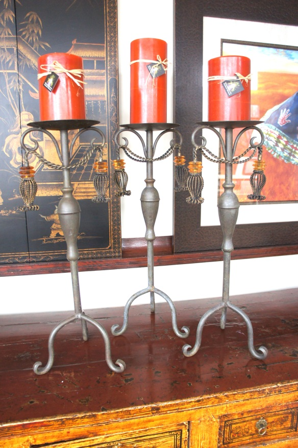 Heavy Wrought Iron Candle Holders with Amber Colored Glass Drops
